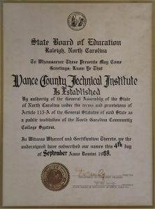 Vance County Technical Institute Charter of 1969
