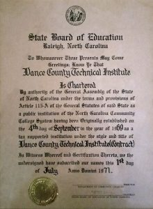 Vance County Technical Institute Charter of 1971
