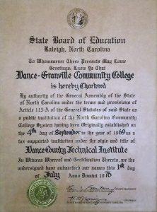 Vance-Granville Community College Charter of 1976