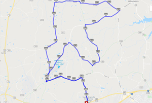 screen capture of google maps showing the 31 mile route
