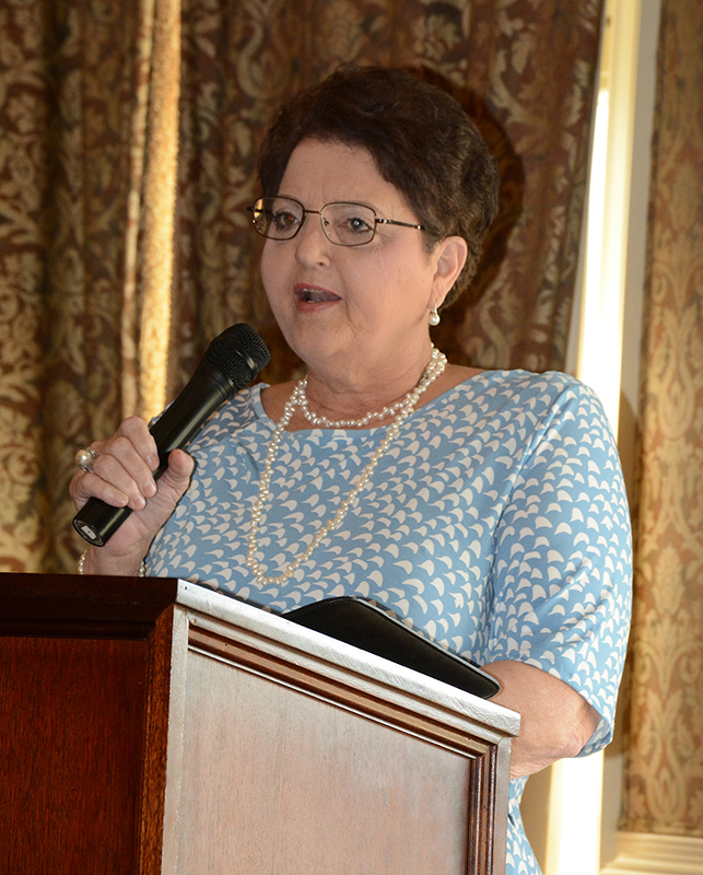 Faith Harris speaking at the VGCC Endowment Fund Golf Tournament in May of 2019 as part of the celebration of the college's 50th anniversary.