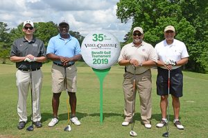 Xavier Wortham Golf team posing during the 2019 Endowment Golf Tournament
