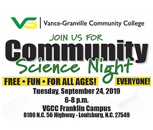 Join us for Community Science Night. Free fun for all ages! VGCC Franklin Campus