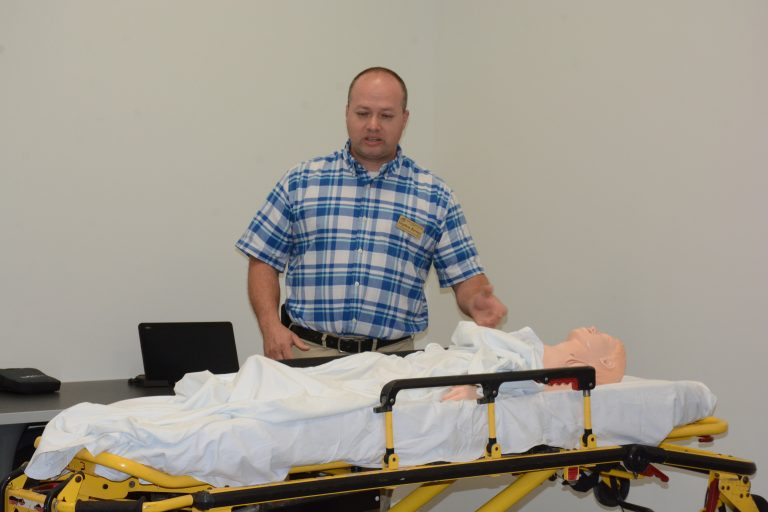 Instructor for EMS programs Steve Barney shows the new EMS lab at VGCC