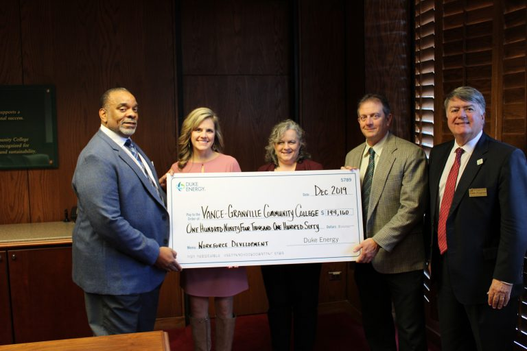 From Left to Right Kenneth Wilson, Tanya Evans ( district manager, Duke Energy), VGCC President Rachel Desmarais, Ken Lewis, Eddie Ferguson.