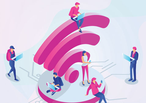 Wifi logo cartoon with people standing around it using mobile devices