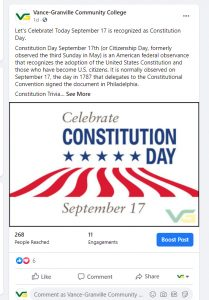 Screen shot of Constitution Day Facebook Post