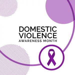 Purple ribbon with Domestic Violence Awareness Month as text.