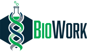 BioWork Logo, bubbling beaker on top of a dna stran