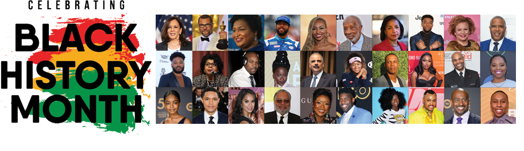 Celebrating Black History Month-collage of African American artists and political figures