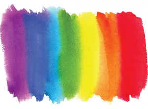watercolor brush strokes of LGBTQ flag colors