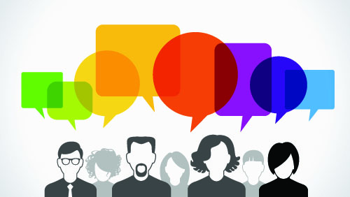 cartoon image of a group of people with speech bubbles above their heads