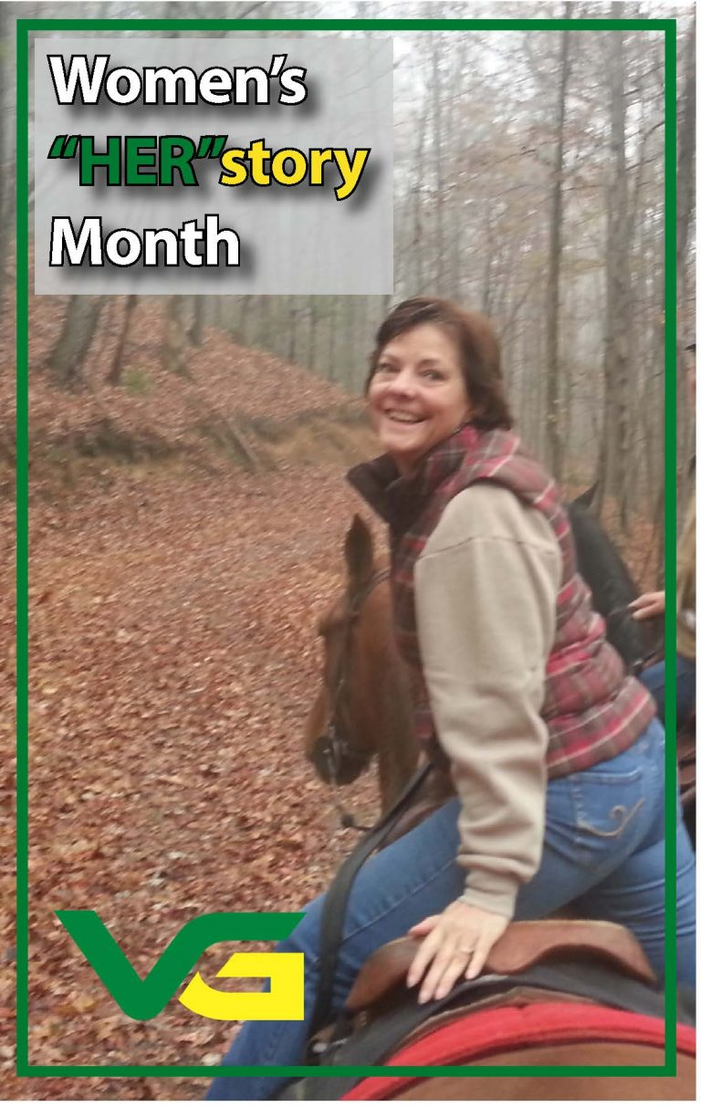 """Photo of Evelyn Harris riding a horse - Women's """"Her""""story Month"""