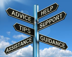 A  road sign with choices about support service. Each service is pointing in various directions. Choices are as follows: Advice, Help, Tips, Support, Assistance, Guidance