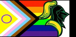 VGCC LGBT Club logo. LGBTQ+ flag behind an image of a Vanguard knight helmet.
