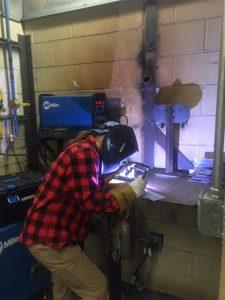 Student welding